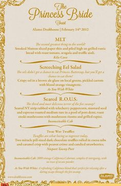 the princess bride wedding menu