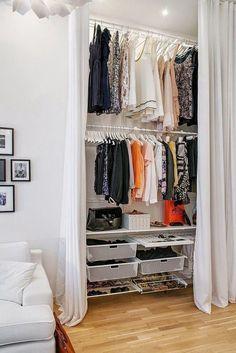 Closet separado com cortina