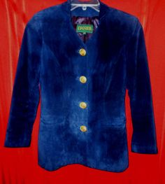Danier Navy Soft Leather Jacket with Collar Gold Button Front Size PS  #Danier #BasicJacket