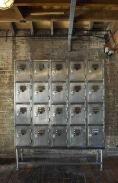 Lockers, brick and rustic wood floors Warehouse Gym, Warehouse Living, Gym Lockers, Metal Lockers, Metal Furniture, Home Decor Furniture, Industrial Furniture, Vintage Furniture, Industrial Living