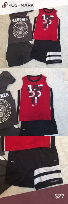 Bundle toddler sets One who did sleeveless top by H&M in size 2 to 4 year. With matching gray and white polo by Ralph Lauren shorts (signature horse has faded) One Nike sleeveless top and one Abercrombie shorts with functional pockets Matching Sets