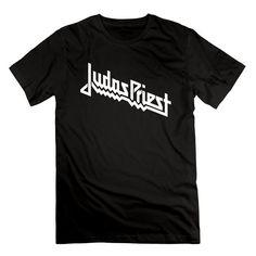WYKY Mens Judas Priest Logo Breaking The Law Tour Black Short Slev Tee Tshirt