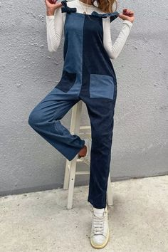 021 New Spring Autumn Two Color Stitching Symmetric Long Strap Women Jumpsuits Casual Fashion High Waist Trousers Jumpsuit Outfit, Casual Jumpsuit, Pant Jumpsuit, Trousers, Short Jumpsuit, Printed Jumpsuit, Color Shorts, Jumpsuits For Women, High Waist