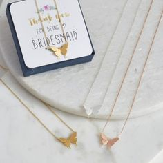 Delicate Butterfly Pendant with choice of card. Perfect little gift for your Bridesmaids and Maid of Honour