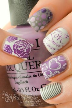 Super pretty purple and grey skittles by The Nail Polish Project.