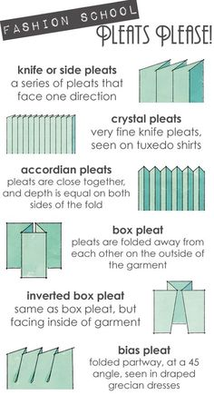 Types of Pleats. I find that box pleats usually look the best for cosplay, and especially for pleated skirts. You'll need fabric three times longer than the finished piece, though! Sewing Basics, Sewing Hacks, Sewing Tutorials, Sewing Crafts, Sewing Projects, Sewing Patterns, Sewing Tips, Dress Patterns, Knitting Patterns