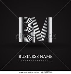 Elegant Initial logo BM letter silver colored. Vector design template elements for company identity.