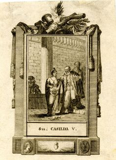 St Casilda; the moment when, challenged by her father, the bread she used to secretly feed Christian prisoners turned to roses.1750s  Engraving and etching