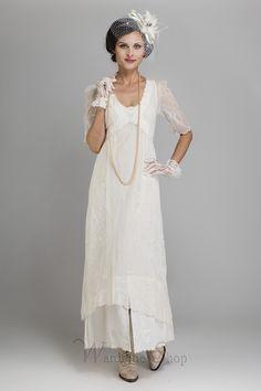 Vintage Inspired Wedding Dresses Titanic Dress in Ivory by Nataya $208.00 AT vintagedancer.com