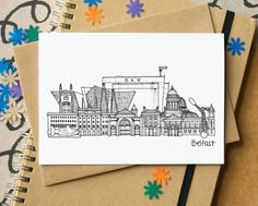 Exceptionnel Belfast Skyline Greetings Card A blank card featuring an renom of some . City Illustration, Digital Illustration, Belfast Murals, Bon Voyage Cards, Belfast Titanic, Skyline Tattoo, Gcse Art, Blank Cards, Ireland