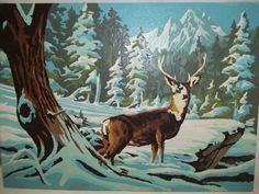 Vintage Winter Scene with Deer