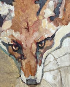 """""""Fox in Snow"""" (detail) 24x18 oil on canvas FOR SALE"""