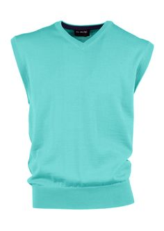 $100 MG Wool V- Fine guage sleeveless high V-Neck sweater with contrast detail on inner collar.
