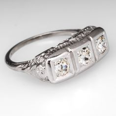 Antique Filigree Three Stone Engagement Ring 14K White Gold