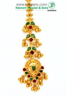Totaram Jewelers: Buy 22 karat Gold jewelry & Diamond jewellery from India: Gold Tikka with Ruby & Emerald Tika Jewelry, India Jewelry, Diamond Jewelry, Gold Jewelry, Ear Chain, Kids Earrings, Gold Jewellery Design, Selling Jewelry, Jewelry Patterns