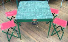 Vintage Original Coleman Metal Folding Camping Table Case with Stools Chairs | eBay