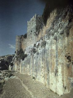 Moat of Saladin's Castle, a Byzantine Castle once occupied by Crusaders, Syria, Lumiere colorfilm, circa 1934-1939.