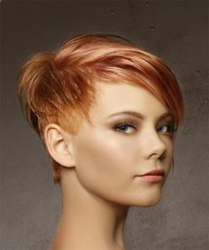 Short Straight Casual Pixie Hairstyle with Side Swept Bangs - Red Hair Color with Light Blonde Highlights - Side on View Medium Red Hair, Short Red Hair, Short Hair Cuts, Short Hair Styles, Pixie Cut With Highlights, Red Hair With Blonde Highlights, Gold Highlights, Pixie Hairstyles, Short Hairstyles For Women