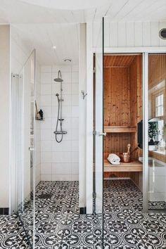 Elegant Black White Bathroom Design Ideas - Page 16 of 41 Black White Bathrooms, White Bathroom Tiles, Small Bathroom, Master Bathroom, Bathroom Ideas, Shower Ideas, Bathroom Sinks, Bathroom Organization, Mosaic Bathroom