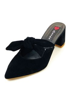 691b10058b Tamanco Salto Grosso Love Shoes Mule Scarpin Laço Preto