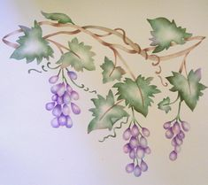 Grape vine Border Wall Stencil Mural by VictoriaLarsenDecor, $28.99