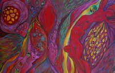 Acrylique, encre, collage petites aquarelles sur toile 80/120cm. Patricia Mouton.