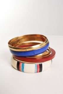 Red, White, and Blue Bangles with a white T. Lookin fresh AF