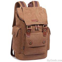 Retro Men's Canvas Large Capacity Outdoor Travel Rucksack Splicing Leather Belts School Laptop Backpack
