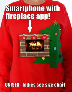 PLEASE READ FULL DESCRIPTION - SHIPS 1-3 DAY PRIORITY UNISEX DESIGN. Fits iPhone- larger Galaxy s5. Simply download any free fireplace app