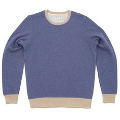 Folk Sweat Top. This simple sweatshirt is made from a cotton blend fleeced jersey fabric, which has been knitted on antique looms for a beautifully textured look and feel with subtle irregularities. The detailing is restrained, with cuffs, collar and hem in a contrast rib, and internal triangular elbow patches providing a discrete textured look and increased durability.
