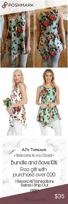 Sleeveless Floral Sharkbite Tank Tunic Super soft floral sharkbite tank top tunic Sizing: S: 4/6 M: 8/10 L: 12/14 95% Polyester 5% Spandex  Color: Mint AJ's Threads  Tops Tunics