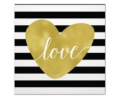 Placa Decorativa Striped Love - 29x29cm | Westwing - Casa & Decoração