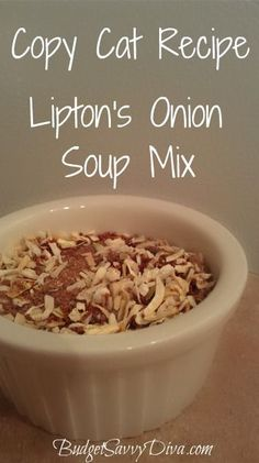 Homemade Onion Soup Mix         1/4 cup minced onion      1/6 cup beef bouillon granules       1/8 teaspoons onion powder      1/8 teaspoon celery seed      1/8 teaspoon sugar  Combine all ingredients together.  About 5 Tablespoons = 1 package