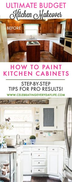 How to turn your kitchen into a Dream Kitchen with Paint! A step-by-step guide for How to Paint Kitchen cabinets!! Check out my Ultimate Budget Kitchen Makeover for How to Make Old Cabinets Look New with Paint! via @jencarrollva