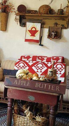 Primitive shelf with blanket crane. Primitive Crafts, Decor, Country Primitive, Primitive Decorating Country, Living Room Decor Country, Fall Decor, Seasonal Decor, Primitive Living Room, Home Decor