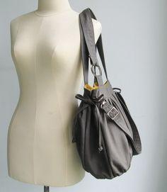 tippythai etsy shop: grey canvas pumpkin bag