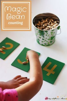 Magic Bean Counting - a simple math activity inspired by Jack and the Beanstalk, plus notes on what to consider when using themed materials for learning Montessori Math, Preschool Math, Preschool Themes, Preschool Lessons, April Preschool, Kindergarten Math, Teaching Math, Eyfs Jack And The Beanstalk, Magic Theme