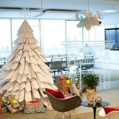 Tree made of recycled paper
