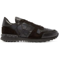 Valentino Black Camouflage Butterfly Sneakers (56.535 RUB) ❤ liked on Polyvore featuring men's fashion, men's shoes, men's sneakers, valentino mens shoes, valentino mens sneakers y mens lace up shoes
