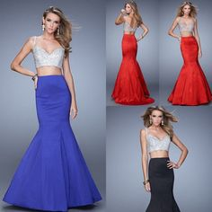 2 Two Piece Long Mermaid Prom Dress 2015 Sparkly Sweetheart Sequin Dress Sexy Blue Red Formal Evening Gowns vestido de formatura