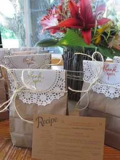 bridal shower favors, cookies & recipe
