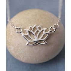 Lily Charmed Sterling Silver Lotus Flower Pendant Necklace (100 BRL) ❤ liked on Polyvore featuring jewelry, necklaces, sterling silver flower necklace, sterling silver charms, flower necklaces, sterling silver necklace pendant and flower pendant