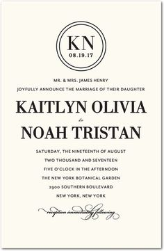 Ringed Monogram - Signature White Wedding Invitations - Elm and Gray - Pearl - White : Front