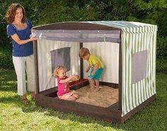 Great little tent cover for the sandpit with roll up door to keep the pets out inyourbackyard