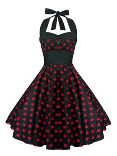 Rockabilly Dress Pin Up Dress Black Polka Dot by LadyMayraClothing
