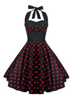Rockabilly Dress Pin Up Dress Black Polka Dot by LadyMayraClothing