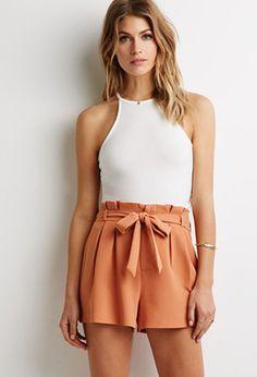 Pleated-Waist Shorts