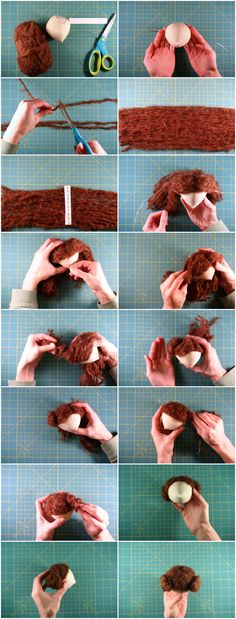 DIY Doll Hair — Although this is for a rag doll, it could be customized for BJD wigs. Doll Wigs, Doll Hair, Diy Dolls Hair, Balage Hair, Doll Tutorial, Amigurumi Tutorial, Sewing Dolls, Waldorf Dolls, Soft Dolls