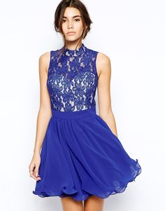Image 1 ofChi Chi London Lace High Neck Prom Dress with Full Skirt