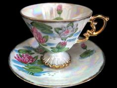 July Waterlily Cup and Saucer Japan by OxbowCreekExchange on Etsy, $14.00